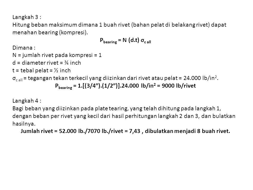 Pbearing = 1.[(3/4 ).(1/2 )].24.000 lb/in2 = 9000 lb/rivet